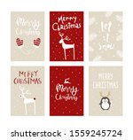 vector set cute christmas cards ... | Shutterstock .eps vector #1559245724