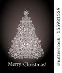christmas card. christmas tree.  | Shutterstock .eps vector #155931539
