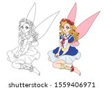 Anime Style Pretty Fairy With...
