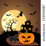 halloween background with... | Shutterstock .eps vector #155945087