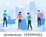 people collecting trash into... | Shutterstock .eps vector #1559594231