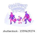 christmas shopping. happy...   Shutterstock .eps vector #1559629274