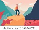 young backpacker man climbing... | Shutterstock .eps vector #1559667941