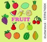 fruit set bundle vector design | Shutterstock .eps vector #1559674004