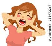 desperate wild hair brunette... | Shutterstock .eps vector #155972267