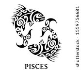 pisces emblem with name. tattoo ... | Shutterstock .eps vector #1559756681