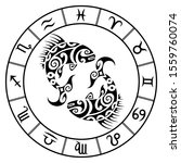 zodiac sign pisces and circle... | Shutterstock .eps vector #1559760074