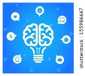 brain light bulb with icons... | Shutterstock .eps vector #155986667