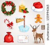 Christmas icons set. Holiday objects collection. Vector illustration