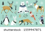 Set Of Christmas Animals In The ...