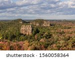 A Medium Shot of the Mill Bluffs over a Wisconsin Fall Landscape during a Beautiful Afternoon