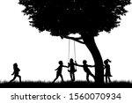 children black  silhouette in... | Shutterstock . vector #1560070934