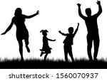 dancing people silhouettes.... | Shutterstock . vector #1560070937