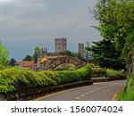 Santa Maria Rezzonico, Lombardy / Italy - 27th April 2018: The Castle of Rezzonico (Castello di Rezzonico), dates back to thirteenth-century. It's easily recognizable thanks to the wall structure. - stock photo