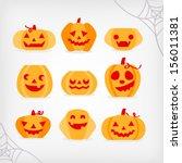 jack o lantern pumpkin  | Shutterstock .eps vector #156011381