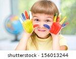 portrait of a cute cheerful... | Shutterstock . vector #156013244