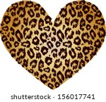 gold heart with leopard print... | Shutterstock .eps vector #156017741