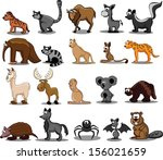 set of 20 cute cartoon animals  | Shutterstock .eps vector #156021659