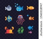 Set Of Sea Animals Characters ...