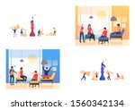 set of workers playing chess.... | Shutterstock .eps vector #1560342134