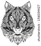 Wolf Head Tattoo. Vector...