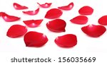 Stock photo close up of red rose petals isolated on a white background 156035669