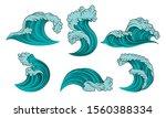 Set Of Turquoise Sea Waves....