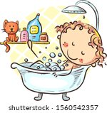 cartoon girl taking bath at... | Shutterstock .eps vector #1560542357
