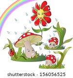 happy flower dancing in the... | Shutterstock .eps vector #156056525