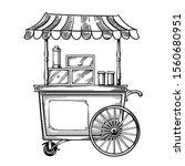 Vintage Street Food Cart With...