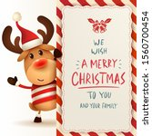 the red nosed reindeer with big ... | Shutterstock .eps vector #1560700454
