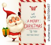 santa claus with big signboard. ... | Shutterstock .eps vector #1560700457