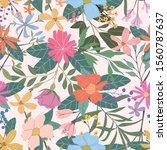 modern bold floral pattern ...   Shutterstock .eps vector #1560787637