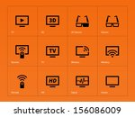 tv icons on orange background....