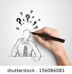 Hand Drawing Businessman With...