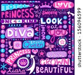 Princess Fairy Tale Diva Word Doodles Lettering with Tiara, Crown, and Diamond- Hand Drawn Vector Illustration