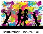 black silhouette of children.... | Shutterstock . vector #1560968201