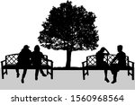 silhouettes of couples.... | Shutterstock . vector #1560968564