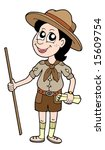 Boy Scout With Walking Stick  ...