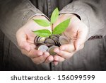 Small photo of Businessman cover growing plant with coin money