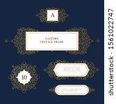 vector set of line art frames... | Shutterstock .eps vector #1561022747