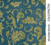 Seamless Gold And Teal Damask...