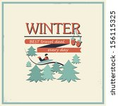 winter poster of fir trees and... | Shutterstock .eps vector #156115325