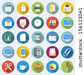 set of office icons in flat... | Shutterstock .eps vector #156123041