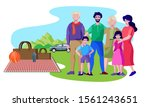 family with grandparents picnic ... | Shutterstock .eps vector #1561243651