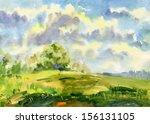 landscape. watercolor. | Shutterstock . vector #156131105