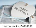 merry christmas wooden heart in ... | Shutterstock . vector #156131231