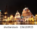 riga blackheads house by night | Shutterstock . vector #156133925