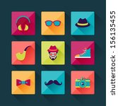 set of hipster icons in flat...