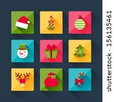 set of christmas icons in flat...